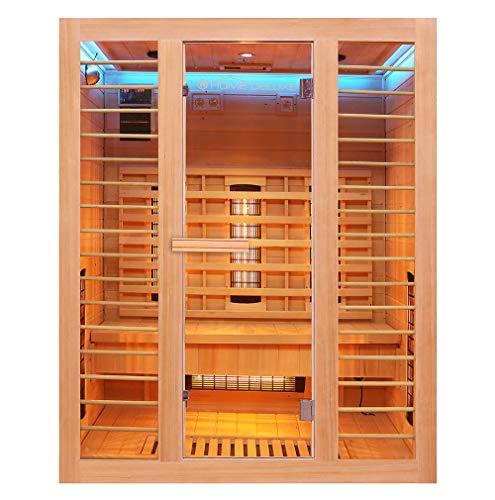 Home Deluxe – Infrarotkabine – Redsun L Deluxe - Vollspektrumstrahler und Karbon-Flächenstrahler – Holz:...