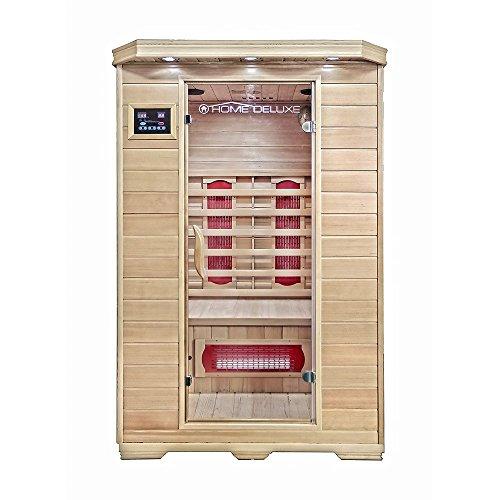 Home Deluxe – Infrarotkabine – Redsun M – Keramikstrahler – Holz: Hemlocktanne - Maße: 120 x 105 x 190 cm –...