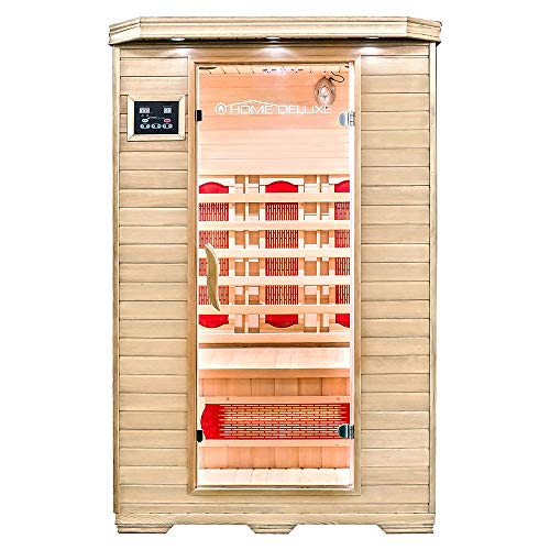 Home Deluxe – Infrarotkabine – Redsun M – Vollspektrumstrahler – Holz: Hemlocktanne - Maße: 120 x 105 x 190 cm...