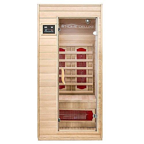 Home Deluxe – Infrarotkabine – Redsun S – Keramikstrahler – Holz: Hemlocktanne - Maße: 90 x 90 x 190 cm –...