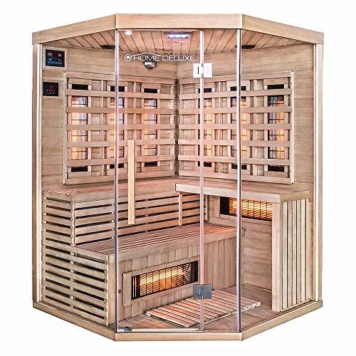 Home Deluxe – Infrarotkabine – Sahara XXL – Vollspektrumstrahler – Holz: Hemlocktanne - Maße: 150 x 150 x 200...